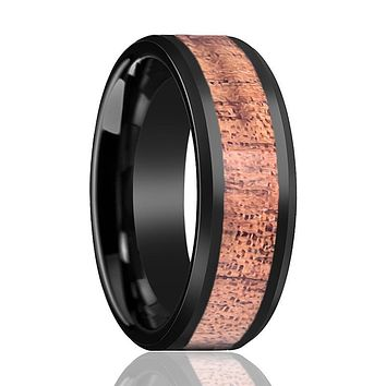 Tungsten Wooden Ring - Black High Polished Beveled Edge with Hawaiian Koa Wood Inlay 8mm Tungsten Carbide Wedding Ring