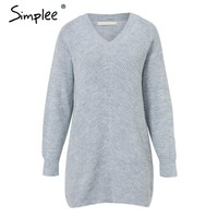 Women's Loose Fit Long-Sleeve Long Pullover Sweater