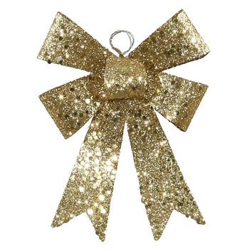 "5"" Gold Sequin and Glitter Bow Christmas Ornament"