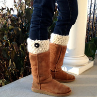 Crochet Leg Warmers, Boot Cuffs, Cream, Button, Boot Toppers for Uggs, Chunky, Birthday Gifts for Her, Teens, Girls, Handmade, LEGJE505CBU