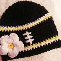 Crochet Baby Girl Steelers Inspired Football Hat Sizes- Newborn-12 Months