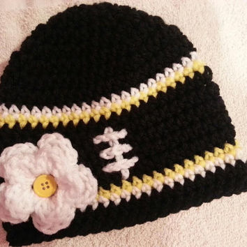 Crochet Baby Girl Steelers Inspired Football Hat Sizes- Newborn- 0a1ca5b7d