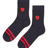 Sporty Emoji Heart Badge Socks - Socks & Tights - Bags & Accessories