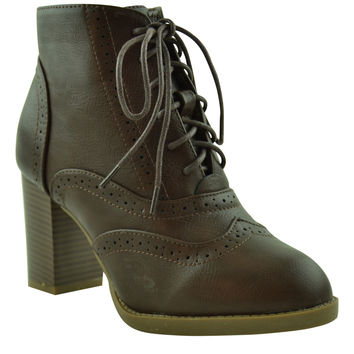 Womens Ankle Boots High Heel Oxfords Lace Up Brogue Shoes Brown