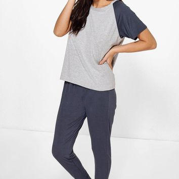 Holly Contrast Sleeve And Jogger PJ Set