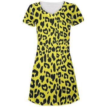 MDIGCY8 Yellow Cheetah Print All Over Juniors V-Neck Dress
