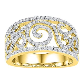 10kt Yellow Gold Womens Round Diamond Swirl Filigree Band Ring 5/8 Cttw