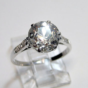 Reserved...1910's Late Edwardian 3.34ct Round VINTAGE ANTIQUE Solitaire Diamond Wedding ENGAGEMENT Ring in Platinum