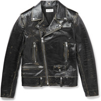 Saint Laurent - Distressed Leather Biker Jacket