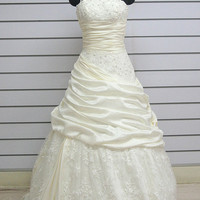 Custom make A-Line Taffeta/Lace Wedding Dress Bridal Gown Bridesmaid Dress Evening Prom Dress