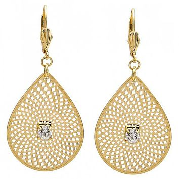 Gold Layered 073.006 Dangle Earring, Leaf and Filigree Design, with White Crystal, Diamond Cutting Finish, Golden Tone