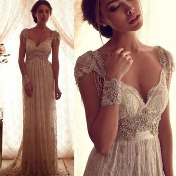 2016 Luxury Bohemian Style Sexy Backless Lace Beach Wedding Dresses Crystal Beaded Boho Bridal Gowns Robe De Mariage GD122