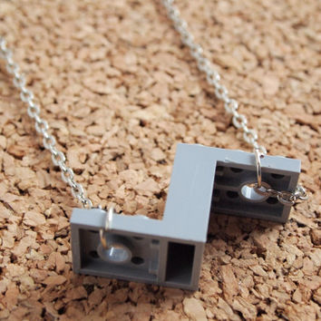 Lego Piece Necklace - geekery repurpose upcycle jewelry charm silver chain grey pendant FREE Shipping to USA