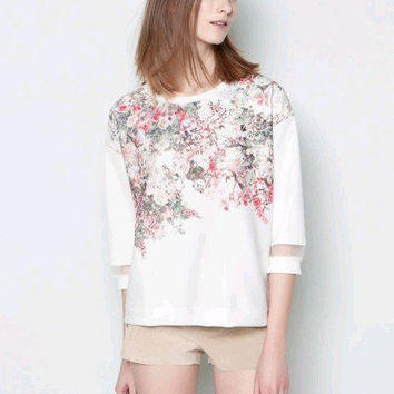 White Floral Mesh Accent Long Sleeve Top