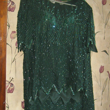 vintage womens   Denise Elle  80s  emerald green  silk Sequined Dress 2 Piece Vintage plus size   size 1 x
