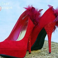 Red Suade High Heels