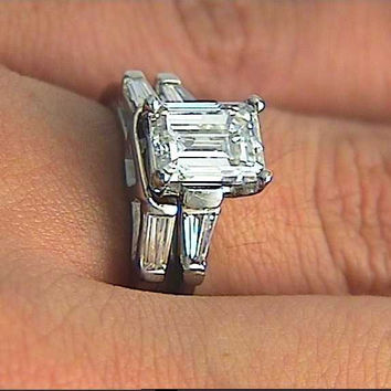 1.45ct GIA Emerald cut Diamond Engagement Platinum Rings and wedding Ring  JEWELFO0RME BLUE