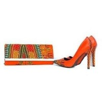 Zak African Print Dashiki Shoes And Bag Set