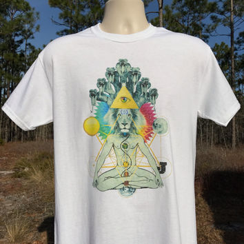 Lion of Enlightenment T-shirts- mens and womens styles/short & long sleeves/womens Bella junior tees- zen style chakra meditation lion shirt