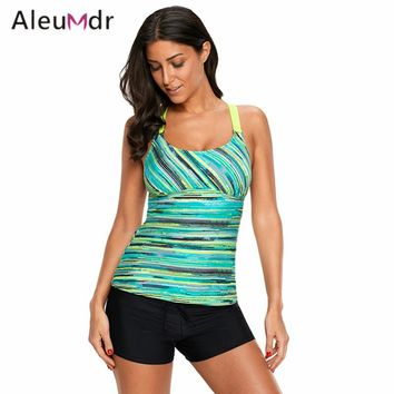 Aleumdr Summer Bikini Tops For Women Purple/Green Colorful Tie Dye Print Tankini Top LC410605 Partes De Arriba De Bikini
