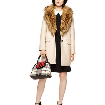 Kate Spade Faux Fur Collar Coat Pumice
