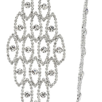 Fancy Style Extra Large Long Earrings with Rhinestones and Clear Stones (Silvertone)