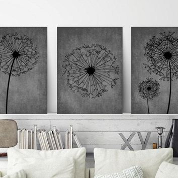DANDELION WALL ART, Gray Black Bedroom Wall Art, Dandelion Canvas or Prints, Gray Black Bathroom Decor, Dandelion Wall Decor, Set of 3