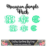 Vinyl Decal Sample Pack | Monogram Sample Pack | Monogram Sticker Set | Monogram Decal Sale | Christmas Gift | Stocking Stuffer | Sale