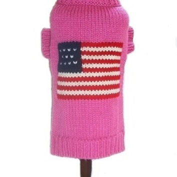 Pink Flag Dog Sweater