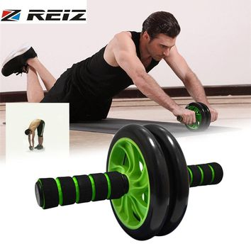 REIZ Double-wheeled Abdominal Muscle Exerciser Ab Roller Men Women Household Gym Wheel Roller Wheels Knee Pad Fitness Equipment
