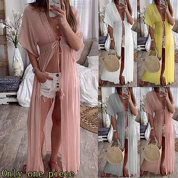 Fashion women's wear new lace cardigan, pure-color holiday dress and long skirt