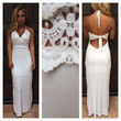 White Mid Crochet Halter Maxi Dress
