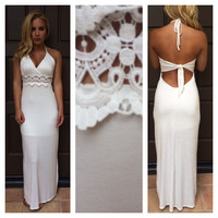 White Mid Crochet Maxi Dress