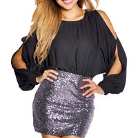 Black and Charcoal Silver Sequins Open Shoulder Chiffon Dress