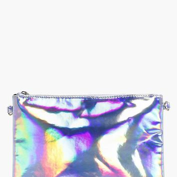 Molly Holographic Zip Top Clutch Bag | Boohoo
