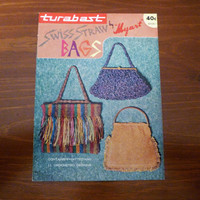 """Vintage 1960s Booklet Turabast """"Swiss Straw Bags by Myart"""" / Contains 9 Knitted and 11 Crocheted Designs / Retro Do It Yourself Bag Making"""
