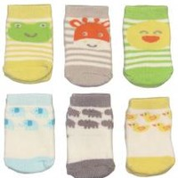6pk of Terry Character Face Baby Bootie Socks by Carters