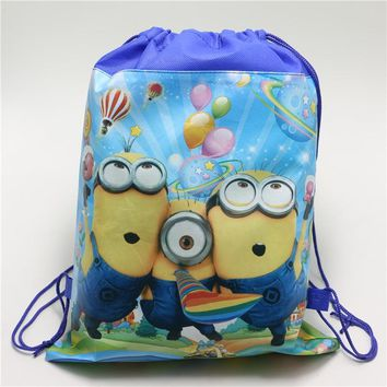1pcs/lot Minions style kids birthday party gift bag birthday theme Non-woven Fabric backpack drawstring bags Kid Favors supplies