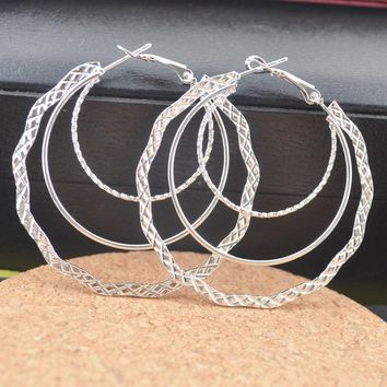 Sterling Silver Fashion Big Round Hoop Earrings