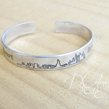 Skyline, New York, Personalised Gift, Personalized Cuff Bracelet, Engraved Bracelet, Silver Bangle, Gifts for Her, Retirement Gifts