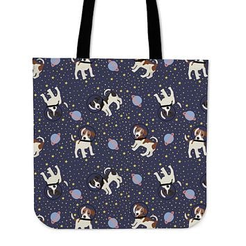 Space Jack Russell Linen Tote Bag