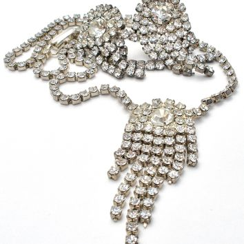 Vintage Necklace Set with Clear Rhinestones