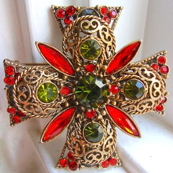 Rhinestone Maltese Cross EMMONS Brooch, Orange Green, Filigree, Vintage