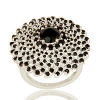925 Sterling Silver Black Spinel And Black Onyx Designer Cocktail Ring