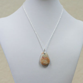 Keswick Agate Pendant Necklace on Sterling Silver Rope Chain -- Product P040