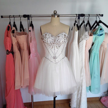 Ivory Lace Tulle Bead Prom Dress, Short Sweetheart Prom Dresses, Cheap Formal Dress Homecoming Dress Cocktail Dress 2015