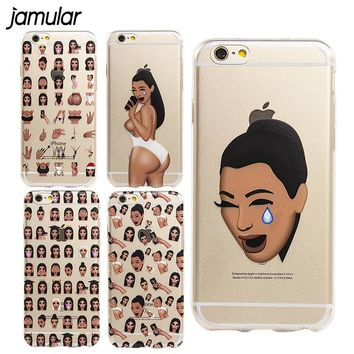 JAMULAR Kim Kardashian Crying Emoji Case for iPhone 6 6s Plus 5s SE Ultra Soft TPU Clear Transparent Funny Silicone Case Fundas