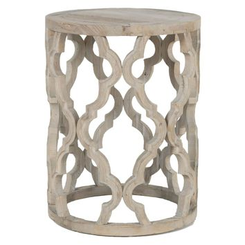 Clover Round End Table Smoke Gray Recycled Wood