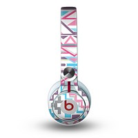 The Vector Pink & White Modern Aztec Pattern Skin for the Beats by Dre Mixr Headphones