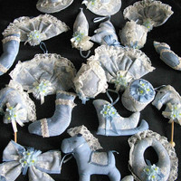Victorian ornaments revival blue fabric lace by Russ 1980s